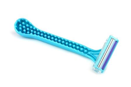 Blue razor for female shaving on white background.