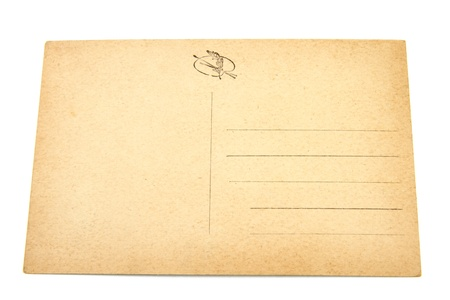 Blank postcard older than 100 years on white background. Stock Photo