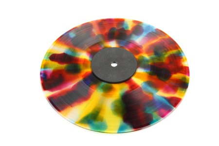 Retro colored vinyl from 1960s isolated on white background. photo