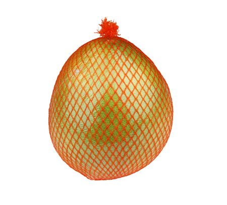 Ripe fresh pomelo fruit in package isolated on white background. photo
