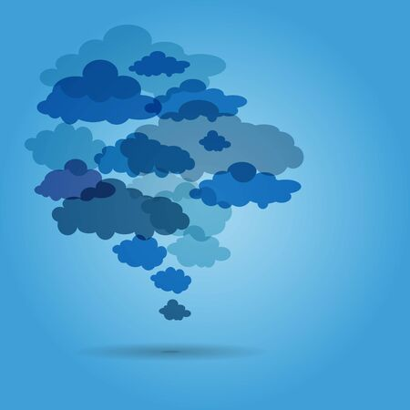 Background from clouds on blue - vector illustration. Vector