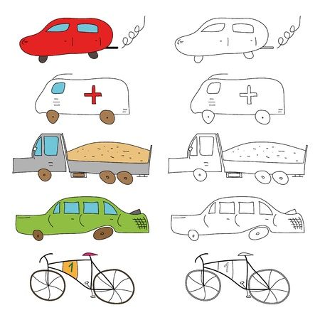 Beautiful cars collection for kids coloring books - vector illustration.