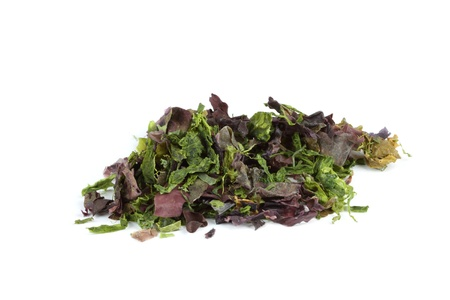 Dried mixed seaweed  Dulse, Laver, Sugar Kelp, Spirulina  isolated over white  photo