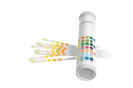 color scale: PH indicators and tube with PH values  Stock Photo