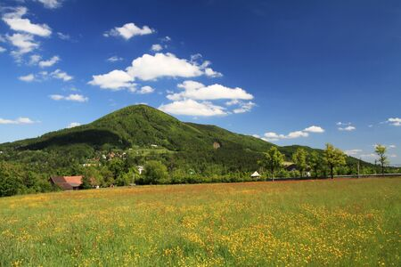 valley below: Beautiful spring landscape in valley below mountains - grass field with dandelions and cloudy sky   Stock Photo
