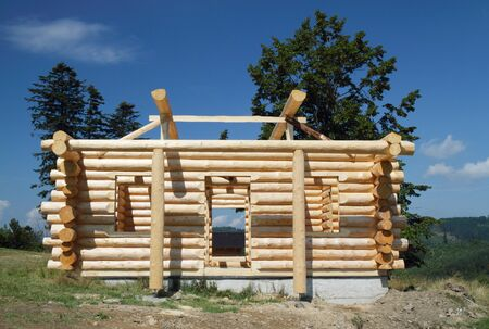Building of new wooden cottage in mountains - Slovakia - Europe  photo