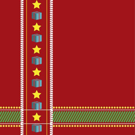 Christmas tablecloth seamless, red background with stars and presents - vector illustration  You can use it to fill your own background  Vector