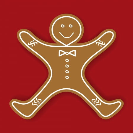 Vector illustration of gingerbread cookie on red background  Vector