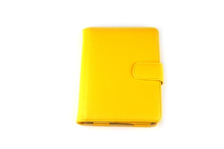 pocket pc: Yellow case for tablet on white background
