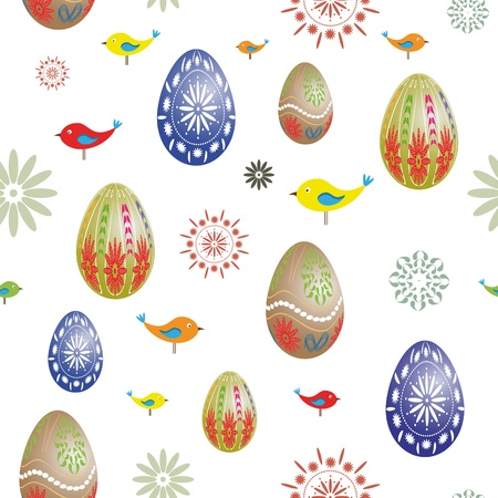 Easter seamless with eggs and birds - You can use it to fill your own background  Vector