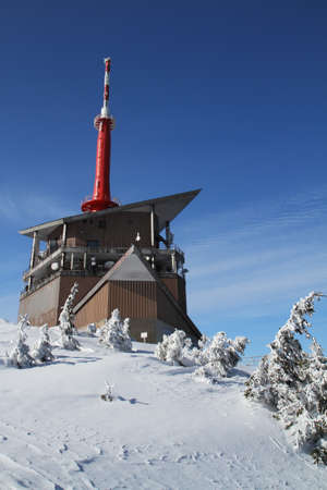 Transmitter tower on the mountain of Beskydy in Czech republic