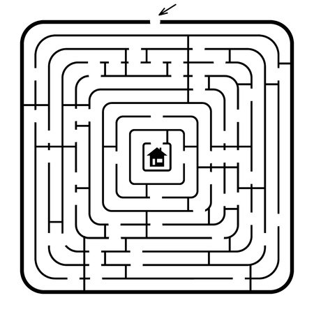 A square maze - vector illustration  Easy editable colors  Vector