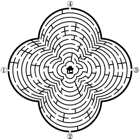 Labyrinth with four entries and only one correct way - vector illustration  Easy editable colors