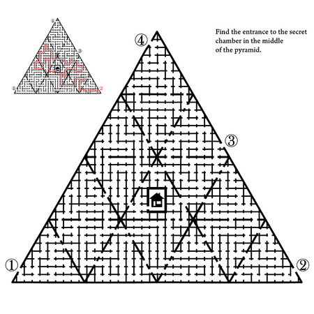 Labyrinth with four entries and only one correct way - vector illustration