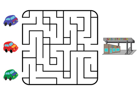 Maze game for children. Find the way for car to gas station. Only one is correct. Vector illustration.