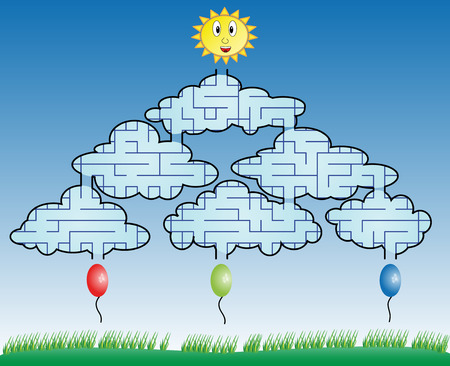 Maze game for children. Find the way for balloon to sun across clouds  Vector