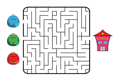 Maze game for children. Find the way for school bag to school. Only one way is correct. Vector illustration.