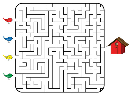 correct: Maze game for children. Find the correct way for bird to birdhouse. Only one way is correct. Vector illustration.