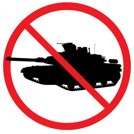 Warning sign for military tanks. Vector