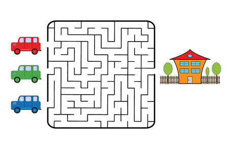 Maze game for children. Find the way for car to your home. Only one is correct. Vector illustration.  イラスト・ベクター素材