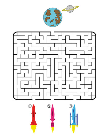 spacecraft: Maze game for children on space theme. Find the way for spacecraft to planet. Only one is correct. Vector illustration.