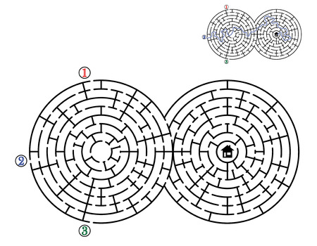 Find way across labyrinth to the home. Three entrances and only one correct path. Vector illustration.