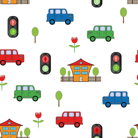 Abstract colored seamless pattern with cars, traffic lights and house on white background - vector illustration. You can use it to fill your own background. Vector