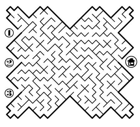 confused cartoon: Find way across labyrinth to the home. Three entrances and only one correct path. Vector illustration on white background. Illustration