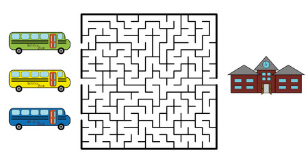 Maze game for children. Find the way for school bus to your school. Only one is correct. Vector illustration.