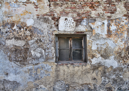 Old window and red brick wall texture for background.