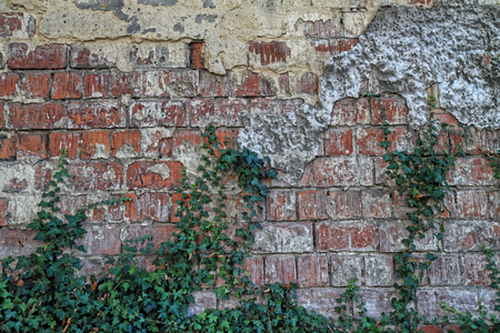 Old red brick wall texture for background.