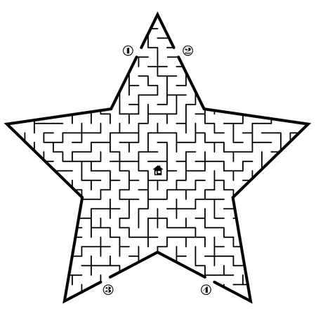 star path: Find way to the home in center of the star. 4 entrances and only one correct path. Vector illustration on white background. Illustration