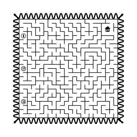Find way to the home in labyrinth - post stamp. 3 entrances and only one correct path. Vector illustration on white background. Illustration
