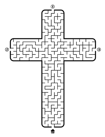 Find way to the home in labyrinth on theme Christian cross. 3 entrances and only one correct path. Vector illustration on white background.