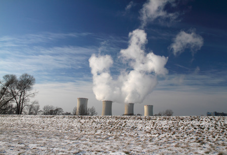 cooling towers: The steam from the cooling towers of power plant. Stock Photo