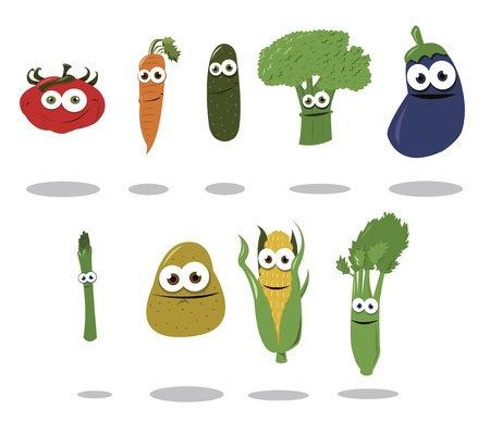 a group of funny vegetables