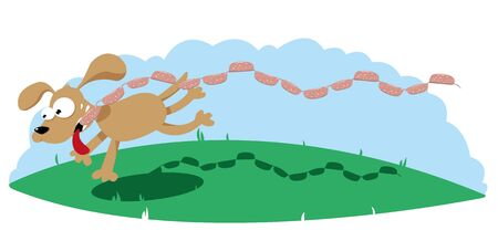Funny Dog with sausages Illustration