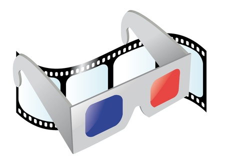 pair of glasses: a vector cartoon representing a pair of 3D glasses and a movie film on the background Illustration