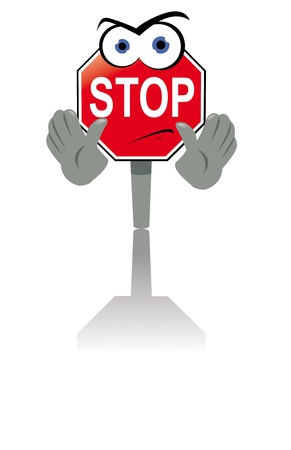 traffic warden: a cartoon representing an angry stop sign