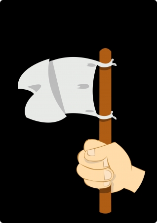 negotiator: a hand holding a white flag