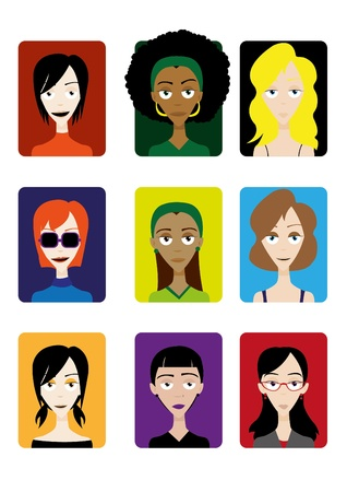 african descent: a cartoon representing 9 different female cartoon faces, useful for avatars Illustration