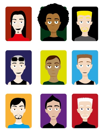 A group of male faces, useful for avatars Stock Vector - 15607117