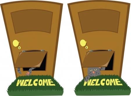 doorframe: dos poses de un gato con una puerta para gatos