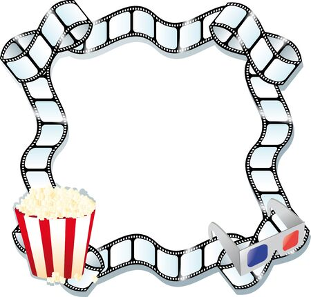 looking through an object: pop corn , 3d glasses and a film