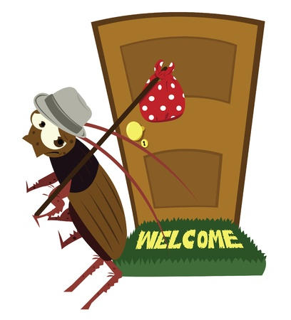 doorframe: dibujos animados que representa una cucaracha divertido salir de la casa, infestada