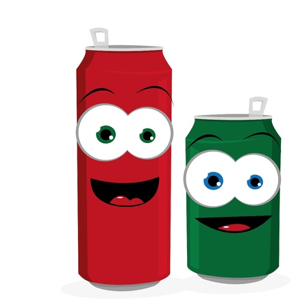 aluminum can: a cartoon reprenseting two funny beer or soda cans looking at camera and smiling