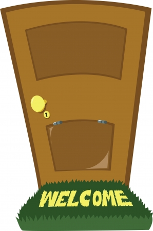 A close door and a door flap Illustration