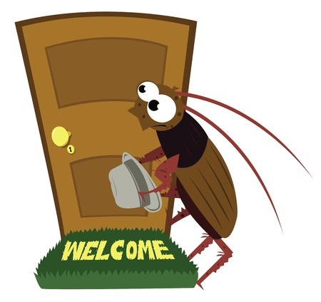 view of a wooden doorway: a cartoon representing an unwanted guest visiting a house