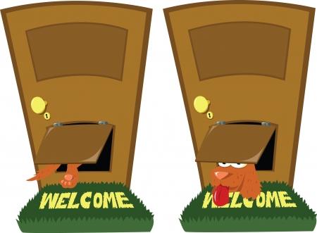 doorframe: un perro divertido con una puerta para perros