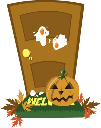 a vector cartoon representing a door in the day of Halloween...just received a trick!